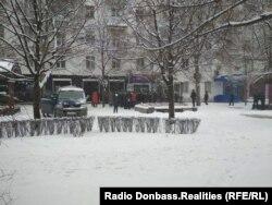 Очередь за пакетами «Феникса» у отделения почты, Донецк, 16 января 2018 года