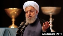 Iranian President Hassan Rohani speaks in the city of Tabriz on April 25.