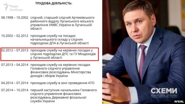На сайті ДФС вказано, що в часи Януковича Сергій Солодченко «проходив службу на керівних посадах у податковій та Міндоходів в Луганській області»