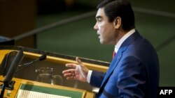 Turkmen President Gurbanguly Berdymukhammedov addresses the UN General Assembly on September 23.