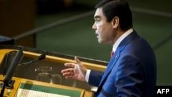 Turkmen President Gurbanguly Berdymukhammedov addresses the UN General Assembly on September 23.