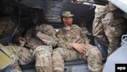 Американские военные во время учений на Яворовском полигоне в Украине