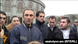 Armenia - Leaders of the Dignified Armenia youth group hold a news conference in Yerevan's Liberty Square, 3Dec2013.
