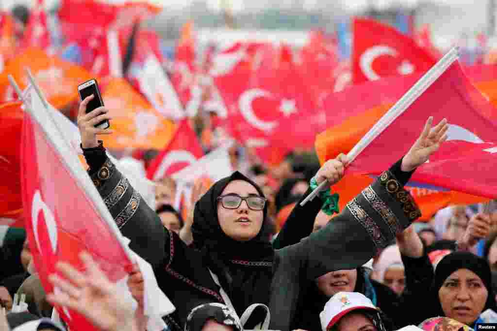 Сторонники Эрдогана. 17 июня 2018 года.