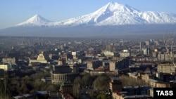 Armenia - View of Yerevan, Ararat mountain background, 08Feb2008