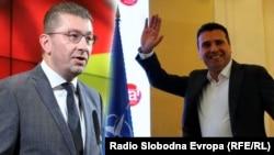 Комбо фотографија на лидерите на ВМРО-ДПМНЕ и СДСМ Христијан Мицкоски и Зоран Заев.