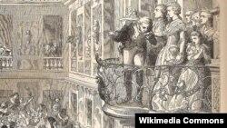 Королевское семейство перед толпой на балконе Версальского дворца. Маркиз де Лафайет целует руку Марии-Антуанетте. Неизвестный художник.