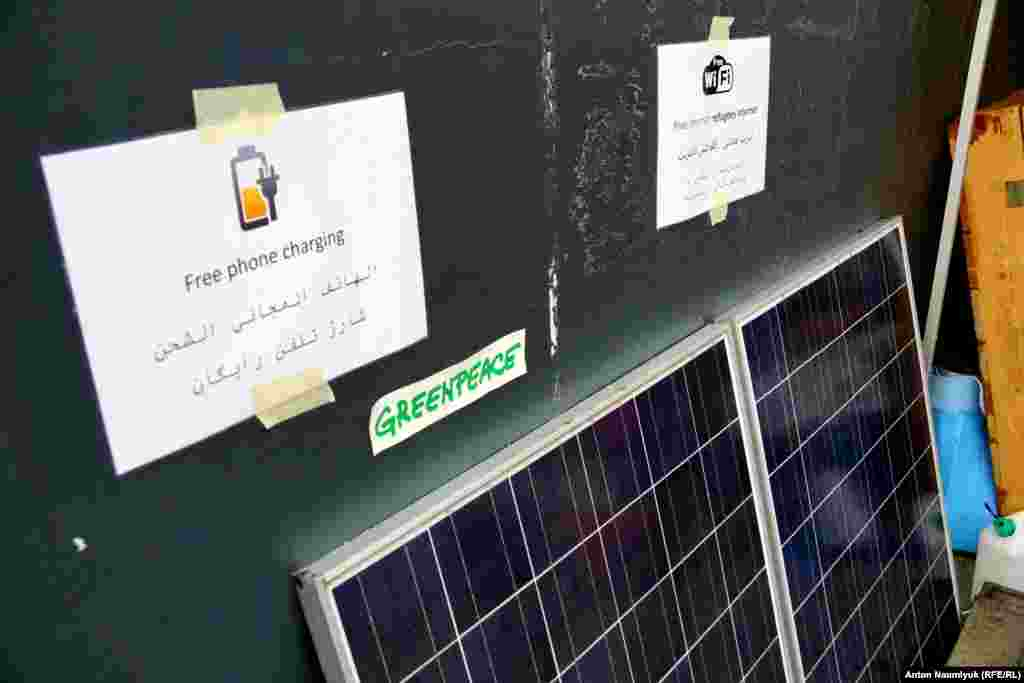 Two large solar batteries have also been donated so that migrants can recharge mobile phones.