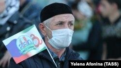 Житель Ингушетии на праздновании 250-летия объединения с Россией. 11 октября 2020 г.