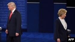 Demokratların namizədi Hilari Klinton və respublikaçı Donald Tramp. 9 Oktyabr, 2016