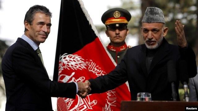 NATO Secretary-General Anders Fogh Rasmussen (left) with Afghan President Hamid Karzai during his visit to Kabul last week.