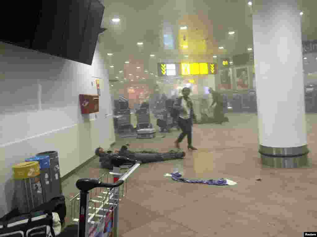 Damage inside the airport after the explosions.
