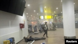 Aeroporti i Brukselit në ditën e sulmeve, 22 mars 2016.