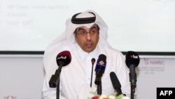 Ali bin Smaikh al-Marri, Chairman of Qatar's National Human Rights Committee gives a press conference in Doha, on June 8, 2017. - Marri said an ultimatum issued by Saudi Arabia and its allies for the emirate's citizens to leave is a violation of human rig