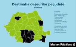 Destinația deșeurilor pe județe, România.