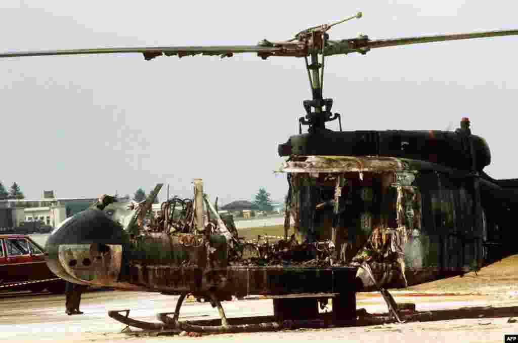 A burned-out, border-police helicopter that was part of the failed rescue operation at the Fuerstenfeldbruck air base near Munich.