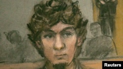 Джохар Царнаев. Рисунок судебного репортера. Апрель 2015 года
