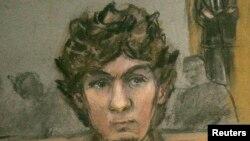 Portreti i Dzhokhar Tsarnaevit i vizatuar derisa ai ishte në gjykatë