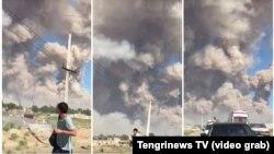 Коллаж с кадрами из видео очевидцев, на которых люди пытаются покинуть район, где с утра понедельника раздаются взрывы в районе склада с боеприпасами. Вблизи города Арысь Туркестанской области, 24 июня 2019 года.