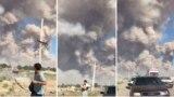 Кадры пытающихся покинуть Арысь жителей на фоне облака дыма от разрывающихся боеприпасов. Туркестанская область, 24 июня 2019 года.