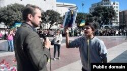 Олександр Хрипунов вперше на Євромайдані в Барселоні