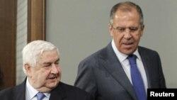Сирия мен Ресейдің сыртқы істер министрлері Валид Муаллем (сол жақта) мен Сергей Лавров (оң жақта). Мәскеу, 10 сәуір 2012 жыл.