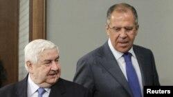 Сергей Лавров (справа) и Валид Муаллем, Москва, 10 апреля 2012