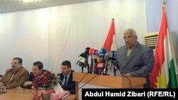 المتحدث باسم تحالف الطوائف العراقية سعدي برزنجي يقرأ بياناً عن حادثة مقتل الإعلامي محمد بديوي