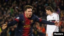 Իսպանիա - «Բարսելոնա»-ի հարձակվող Լիոնել Մեսսին Չեմպիոնների լիգայի հանդիպմանը երկրորդ գնդակն է խփել «Միլան»-ի դարպասը, Բարսելոնա, 12-ը մարտի, 2013թ.