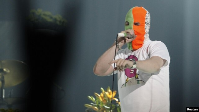 Mike Patton, lead singer of Faith No More, performs in support of Pussy Riot.