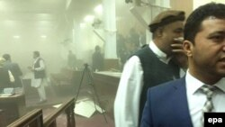 The scene from inside the Afghan parliament building following an attack by Taliban militants in Kabul on.