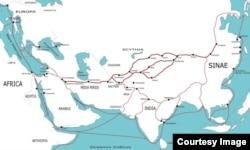 """Карта """"старого"""" """"шелкового пути"""""""
