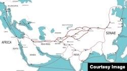 Карта древнего Шелкового пути.