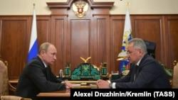 Vladimir Putin (solda) və Sergei Shoigu