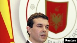 Albania -- Macedonian Foreign Minister Nikola Poposki speaks during a news conference in Tirana, 03Oct2011