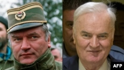 Ratko Mladic-in kombo fotosu. Solda serb generall Sarajevoda olarkən (15fev1994) və Mladic 22 noyabr 2017-ci ildə tribunal qarşısında