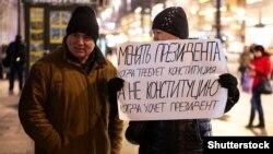 Під час одиночного пікету в російському Санкт-Петербурзі, 13 березня 2020 року