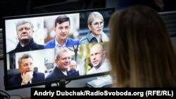 Деякі із кандидатів у президенти на моніторі комп'ютера. Радіо Свобода, Київ, лютий 2019 року