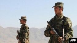 Afghan National Army soldiers keep watch in Kabul.