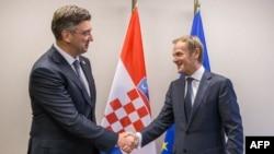 Predsjednik Europskog vijeća Donald Tusk i hrvatski premijer Andrej Plenković, arhivska fotografija