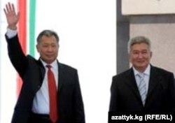 Лідэры кіргіскай рэвалюцыі 2005 году - Курманбэк Бакіеў і Фелікс Кулаў, кастрычнік 2005 году