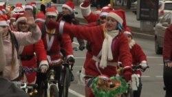 У Запоріжжі відбувся велопробіг Дідів Морозів (відео)