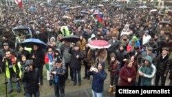 Озарбайжон мухолифати 15 декабрь куни Бокуда ўтказган норозилик митинги.