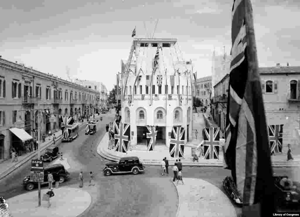 Union Jack flags hung on the streets of Jerusalem on May 9, 1945. Israel – a country founded soon after the end of the war -- celebrates VE day on May 9, reportedly because of the large number of emigrants from the former Soviet Union.