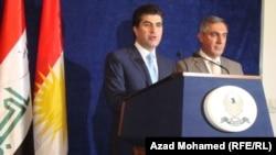 بارزاني خلال مؤتمره الصحفي في السليمانية 30 أيار