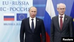 Բրյուսել -- Ռուսաստանի նախագահ Վլադիմիր Պուտին եւ Եվրախորհրդարանի նախագահ Հերման վան Ռոմպոյ, դեկտեմբերի 21, 2012