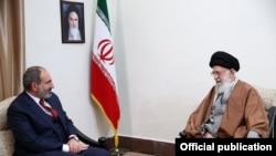 Iran - Supreme Leader Ayatollah Khamenei meets with Armenian Prime Minister Nikol Pashinian in Tehran, February 27, 2019.