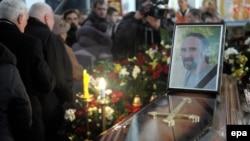 Під час похорону у Львові 51-річного активіста Юрія Вербицького, 24 січня 2014 року