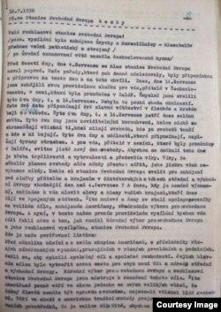 Document pertaining to first RFE Czechoslovak broadcast.