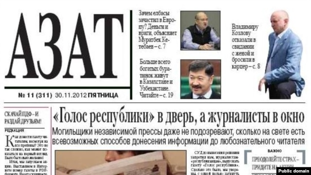 "The ""Azat"" (Free) weekly was removed from several newsstands on November 30."